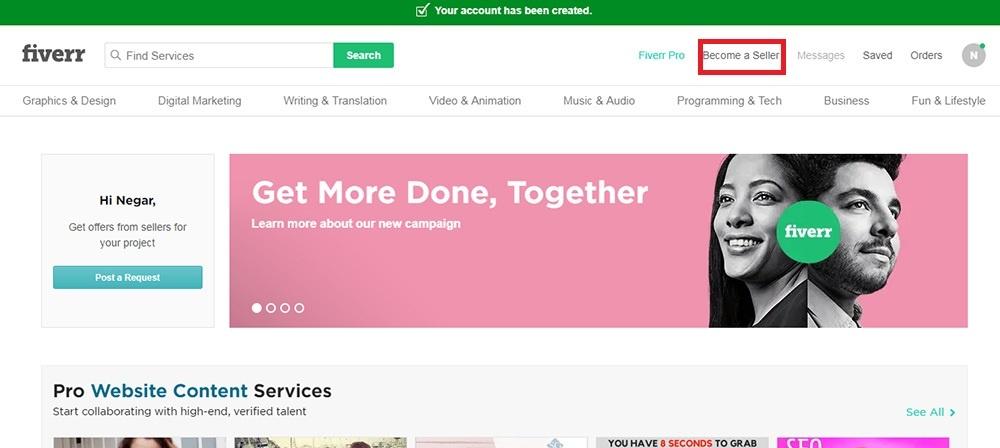 ایجاد حساب کاربری در سایت fiverr